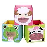 SONGMICS Aufbewahrungsboxen, 3er Set, Spielzeug-Organizer, Faltboxen, Würfel, fürs Kinderzimmer,...