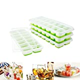 Towinle 14-Fach Silikon Mit Deckel Eiswürfelbehälter Eiswürfel Eiswürfelbox 4er Pack (4 Eiswürfelformen), Grün
