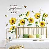 decalmile Wandtattoo Sonnenblume Schmetterling Wandsticker Garten Blumen Wandaufkleber Schlafzimmer Wohnzimmer Fenster Wanddeko