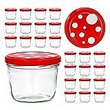 CapCro 25er Set Sturzglas 230 ml to 82 Fliegenpilz Deckel rot weiß gepunktet Marmeladenglas Einmachglas Einweckglas