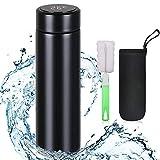 flintronic Thermosflasche, (500ml) Wasserflasche Vakuum Isolierbecher 304 Edelstahl, LCD-Touchscreen-Temperaturanzeige, Smart Becher Dichtflasche mit Becherbürste Ideal für Hitze und Kälte - Schwarz