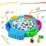 Angelspiel Fisch Kinderspielzeug Brettspiel mit 21 Fische Musik Spielzeug Angelspielzeug...