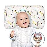 Babykissen gegen Plattkopf und Kopfverformung memory schaum Unisex Kleinkind Kissen waschbar 100% Bio-Baumwolle Kissenbezug Neugeborenes Geschenk für Baby Girl Boy mit Baby Lätzchen
