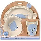 Sterntaler Bambus Kinder Geschirr-Set Baylee, 5-teilig, Süßes Bär-Motiv, Blau