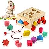 Ulikey Steckwürfel aus Holz, Würfel Puzzle Steckbox Montessori Lernspielzeug, Sortier Stapel Steckspielzeug Holzsteckspiel für Baby Kleinkind, Geschenk zum Geburtstag Kindertag Weihnachten (A)