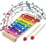 Xylophon für Kinder, Jooheli Musikspielzeug Schlagzeug Schlagwerk, Spielzeug Xylophon mit Holzschlägeln, Holzspielzeug Musikinstrument für Kinder Pädagogische Entwicklung Spielzeug Geschenke 23.5x12cm