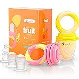 NatureBond Fruchtsauger Baby/Schnuller beißring Babynahrung Nahrungsmittelzufuhr (2 Stück) - Fruchtsauger Baby/Schnuller in appetitanregenden Farben | BPA-frei Inklusive Silikon-Nippel (alle Größen)