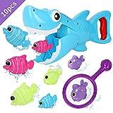 Bammax Badespielzeug, Baby Badewannenspielzeug, Wasserspielzeug, Hai Dusche Spielzeug mit Pole Rod Net, Badewanne Toy Hai mit 8 Fische für Baby und Kleinkind(10pcs)