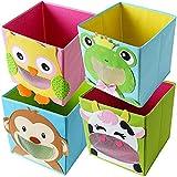 TE-Trend 4 Stück Kinderzimmer Moebel Aufbewahrungsbox Kinder Spielzeugkiste Motiv Faltbox Set Spielzeug Aufbewahrung 28cm Mehrfarbig