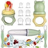 Lictin Fruchtsauger Baby + 6 Silikon-Sauger in 3 Größen + Zwei Wege Baby Sicherheitslöffel -...