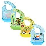Z-Chen 4er Set Baby Lätzchen mit Auffangschale, Wasserdicht