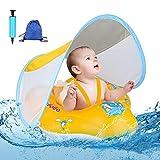 Baby Schwimmring Baby Schwimmen Schwimmtrainer mit abnehmbarem Sonnendach, Kinderboot Schwimmer Schwimmreifen mit Sonnenschutz Wasserspielzeug für Kinder 6 bis 36 Monate (Tragetasche/ Luftpumpe)
