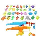 Josopa Magnetisches Angelspielzeug Set, 39pcs Angelspiel Fangen Fisch Spielzeug Set, Brettspiele mit Magnet Angelrute und Fischernetz, pädagogisches Vorschul-Lernspielzeug