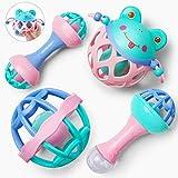 GizmoVine Rassel Baby Spielzeug Baby Rassel Set mit Aufbewahrungsbox ohne BPA Spielzeug für 0,3,6,9,12 Monate und Neugeborene (4 pcs)