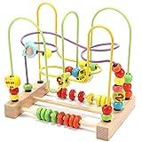 Jacootoys Motorikschleife aus Holz Roller Coaster Holzspielzeug Beweglich Lernspiel Bead Maze Babys...