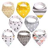 Baby Dreieckstuch Lätzchen Halstuch 8er Pack mit Druckknöpfen Baumwolle Weich Größenverstellbar Bestes Geschenk für Baby (3-24 Monate) von CITÉTOILE (Modell 1)