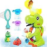 Luclay Baby Badewannenspielzeug, Poolspielzeug Dinosaurier Badespielzeug Schwimmbad Baby ab 1 2 3 4 5 Jahr, Kinder Wasser Dusche Wasserspielzeug Geschenk für Junge Mädchen mit Fischernetz 6set