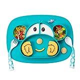 Teller für Baby Kinder Tischset Mini Rutschfest Kinderteller mit saugnapf Silikon Baby Teller Antirutsch Babygeschirr BPA-frei Babyteller für die Meisten Esstische und Hochstuhl-Tablett