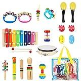 FISHOAKY Musikinstrumente Kinder, 20 Stück Musikinstrumente für Kinder Baby, Holz Percussion...