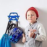 DEKOKRAFT® - Happy Car Kindergarderobe mit Auto Motiv - 5 FARBEN - [inkl. Zubehör] - Garderobenhaken - Garderobe mit 2 Haken - Kinder Kleiderhaken – Kinderzimmer Wand Kinderhaken - Wandhaken