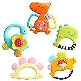 TINOTEEN Baby Rattles Spielzeugset, 5 Stück Beißring Shaker Grab Spin Rassel Spielzeug für 3 6 9...