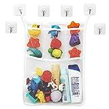Badewannen Spielzeug Aufbewahrungsnetz, Organizer inklusive 6 transparenten Klebehaken, verhindert Schimmel an Spielzeugen, Spielzeugnetz zum Hängen, waschmaschinenfest, großes Netz zum Organisieren