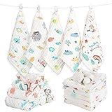 Caiery 10pcs Baby Musselin Waschlappen, Baby Badetücher/Weiche Neugeborene Baby Gesichtstücher,...
