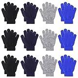 QKURT 12 Paare von Kinderhandschuhe, Magische Stretch Handschuhe Voller Finger Kinder Handschuhe für 5~13 Jahre alte Kinder Mädchen Jungen