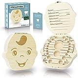 Zrilubkrelz Zahnbox Zahndose für Kinder aus Holz | Deutsche Sprache | 2 Versionen für Junge & Mädchen | Milchzahndose Milchzahnbox für Milchzähne als Geschenk zur Einschulung Geburt Taufe box