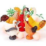 HERSITY Bauernhoftiere Set Nutztiere Spielzeug Mini Tiere Figuren mit Eier und Bäume Lernspielzeug für Kinder Jungen Mädchen, 14 Stücke