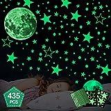 Hoiny Leuchtsticker Wandtattoo 435 Stück Sternenhimmel Leuchtsterne selbstklebend,Mond Wanddeko...