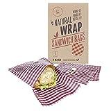 Media Chain Natural Wrap Sandwich Tasche Rot – Wiederverwendbare Bienenwachstücher Tasche Brotbeutel Brottasche Ersetzt Alufolie Und Frischhaltefolie (Vegan)