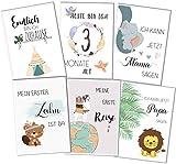 Baby Meilensteinkarten für Junge und Mädchen, als Geschenk zur Geburt/zur Babyparty für werdende...