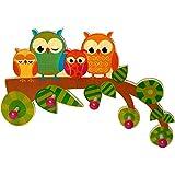Hess Holzspielzeug 30316 - Garderobe aus Holz, Serie Eule, mit 5 Haken, für Kinder, ca. 37 x 25 x...