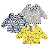 Lictin Baby Lätzchen mit Ärmeln 3 Set Baumwolle Lätzchen Wasserdicht Baby Lätzchen Bibs Set für 0-24 Monaten