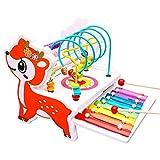 Motorikschleife aus Holz Roller Coaster Holzspielzeug Bead Maze Babys Spielzeug für Kinder,Labyrinth Abakus Bead Maze Spielzeug für Kinder,Xylophon Kinder Holz