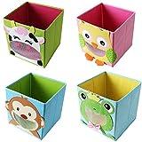TE-Trend 4 Stück Textil Faltbox Spielbox Tiermotive Frosch AFFE Eule Kuh Aufbewahrung Truhe für...
