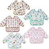 Lictin Baby Lätzchen mit Lange Ärmeln 5 Set Lätzchen Babylätzchen Wasserdicht Baby Bibs Set für 0-24 Monaten