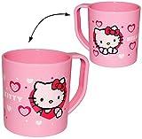 alles-meine.de GmbH Trinkbecher / Henkeltasse -  Katze - Hello Kitty  - aus Kunststoff Plastik - Tasse - Kindertasse / Kinderbecher - für Baby - Trinklerntasse / Trinkbecher Kl..