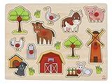 Engelhart - Hochwertiges Holzpuzzle mit Knopf für Kleinkinder - Verschiedene Designs, Holzspiele für Kinder und Babys ab 2 Jahren (Bauernhof)