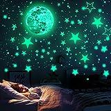 WELLXUNK Sterne Fluoreszierend Wandaufkleber, Wandsticker Leuchtaufkleber, Mond Wanddeko Aufkleber,...