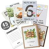 45 Baby Meilensteinkarten Pikaflor für Junge und Mädchen (handgemalte Tiere, Deutsch) Meilenstein...