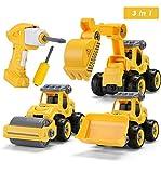 Sundaymot Montage Bagger Spielzeug - Elektrisches baufahrzeuge Spielzeug Set mit Kinder Bohrmaschine, Bagger Spielzeugauto sandkasten Ideale Lernspielzeug für Junge und Mädchen ab 3 4 5 Jahren