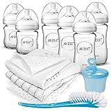 Philips Avent Flaschen Starter Set Glas - 6 Baby Glasflaschen (240/120 ml) mit Naturnah Sauger und...