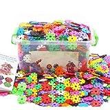 LONTG 300/500 Stücke Baustein Schneeflocke Mädchen Jungen Kinder steckbausteine Spielzeug kreativ Kleinkinder Lernspielzeug lustig Bausteine aus Plastik Puzzle mit Aufbewahrungsbox als Geschenk