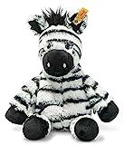 Steiff 069109 Original Plüschtier Zora Zebra, Soft Cuddly Friends Kuscheltier ca. 30 cm, Markenplüsch mit Knopf im Ohr, Schmusefreund für Babys von Geburt an, weiß-schwarz