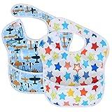 Luxja Baby Lätzchen Wasserdicht (Packung mit 2), Armellatzchen Abwaschbar (für Kleinkinder von 6-24 Monate), Flugzeug + Stern