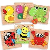 OleOletOy Holzpuzzle für Kinder - 6 STK. Steckpuzzle Pädagogisches Spielzeug mit Aufbewahrungstasche für Baby - Puzzlespiel Set Geschenk Bunte Tierpuzzle (Tier Puzzles)