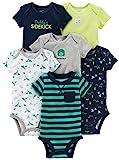 Simple Joys by Carter's Unisex-Baby 6-pack Short-sleeve Bodysuit Body, 3x Blau verschiedene Motive,...