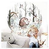 Little Deco Wandsticker Kinderzimmer Wandtattoo Tiere Bär Reh 120 cm rund Wanddeko Spielzimmer...